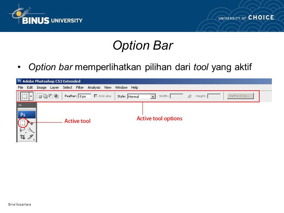 Bina Nusantara Option Bar Option bar memperlihatkan pilihan dari tool yang aktif