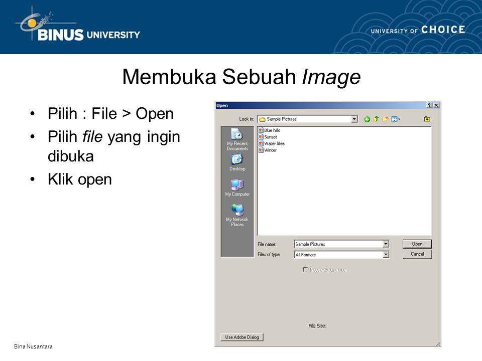 Bina Nusantara Membuka Sebuah Image Pilih : File > Open Pilih file yang ingin dibuka Klik open