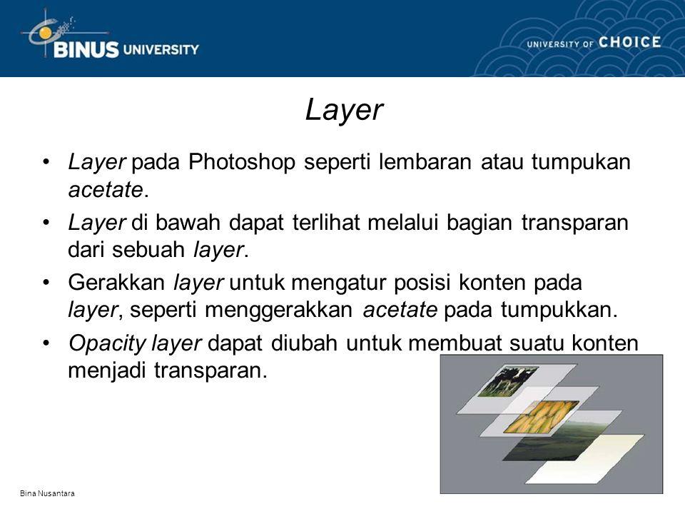 Bina Nusantara Layer Layer pada Photoshop seperti lembaran atau tumpukan acetate. Layer di bawah dapat terlihat melalui bagian transparan dari sebuah