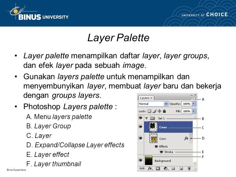 Bina Nusantara Layer Palette Layer palette menampilkan daftar layer, layer groups, dan efek layer pada sebuah image. Gunakan layers palette untuk mena
