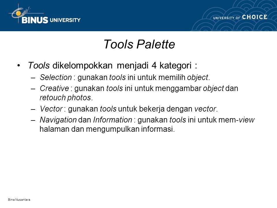 Bina Nusantara Tools Palette Tools dikelompokkan menjadi 4 kategori : –Selection : gunakan tools ini untuk memilih object. –Creative : gunakan tools i