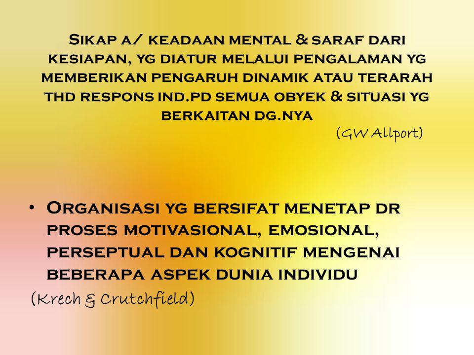 Sikap a/ keadaan mental & saraf dari kesiapan, yg diatur melalui pengalaman yg memberikan pengaruh dinamik atau terarah thd respons ind.pd semua obyek & situasi yg berkaitan dg.nya (GW Allport) Organisasi yg bersifat menetap dr proses motivasional, emosional, perseptual dan kognitif mengenai beberapa aspek dunia individu (Krech & Crutchfield)