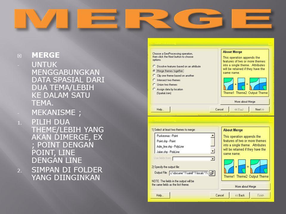  MERGE - UNTUK MENGGABUNGKAN DATA SPASIAL DARI DUA TEMA/LEBIH KE DALAM SATU TEMA.
