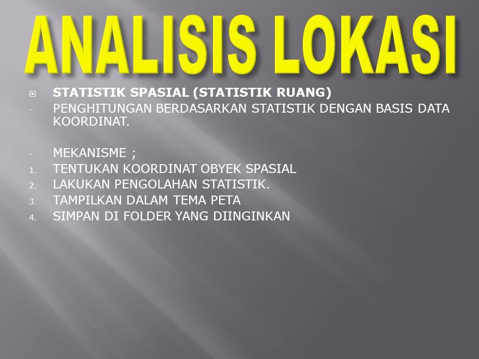  STATISTIK SPASIAL (STATISTIK RUANG) - PENGHITUNGAN BERDASARKAN STATISTIK DENGAN BASIS DATA KOORDINAT.