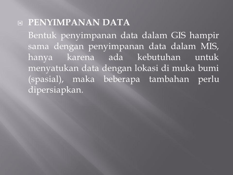  PENYIMPANAN DATA Bentuk penyimpanan data dalam GIS hampir sama dengan penyimpanan data dalam MIS, hanya karena ada kebutuhan untuk menyatukan data dengan lokasi di muka bumi (spasial), maka beberapa tambahan perlu dipersiapkan.