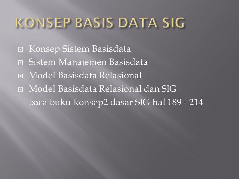  Konsep Sistem Basisdata  Sistem Manajemen Basisdata  Model Basisdata Relasional  Model Basisdata Relasional dan SIG baca buku konsep2 dasar SIG hal 189 - 214