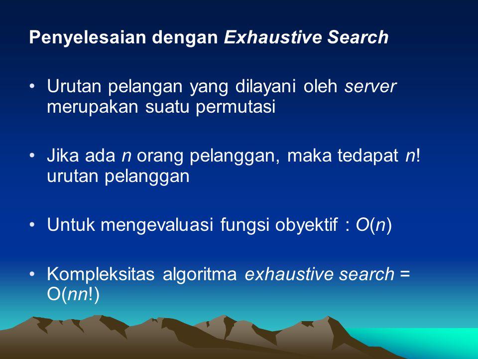 Penyelesaian dengan Exhaustive Search Urutan pelangan yang dilayani oleh server merupakan suatu permutasi Jika ada n orang pelanggan, maka tedapat n.