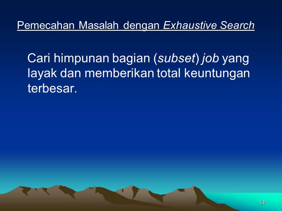 51 Pemecahan Masalah dengan Exhaustive Search Cari himpunan bagian (subset) job yang layak dan memberikan total keuntungan terbesar.
