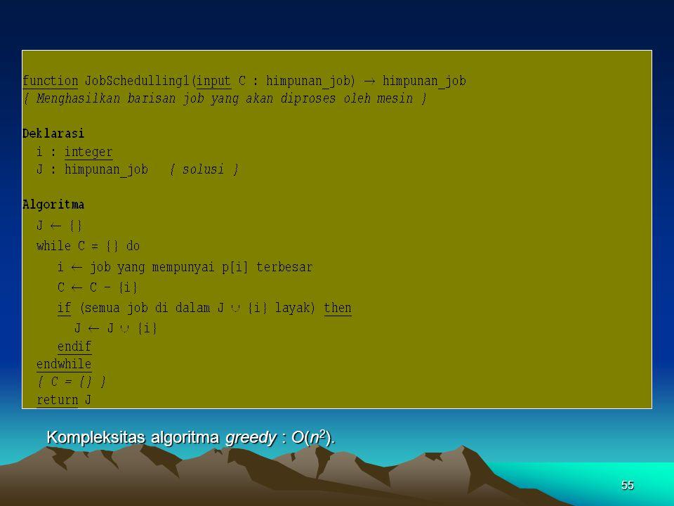 55 Kompleksitas algoritma greedy : O(n 2 ).
