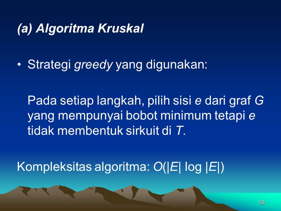 58 (a) Algoritma Kruskal Strategi greedy yang digunakan: Pada setiap langkah, pilih sisi e dari graf G yang mempunyai bobot minimum tetapi e tidak membentuk sirkuit di T.