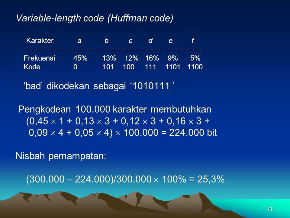71 Variable-length code (Huffman code) Karakter a b c d e f ------------------------------------------------------------------------ Frekuensi 45% 13% 12% 16% 9% 5% Kode0101 100 111 1101 1100 'bad' dikodekan sebagai '1010111 ' Pengkodean 100.000 karakter membutuhkan (0,45  1 + 0,13  3 + 0,12  3 + 0,16  3 + 0,09  4 + 0,05  4)  100.000 = 224.000 bit Nisbah pemampatan: (300.000 – 224.000)/300.000  100% = 25,3%