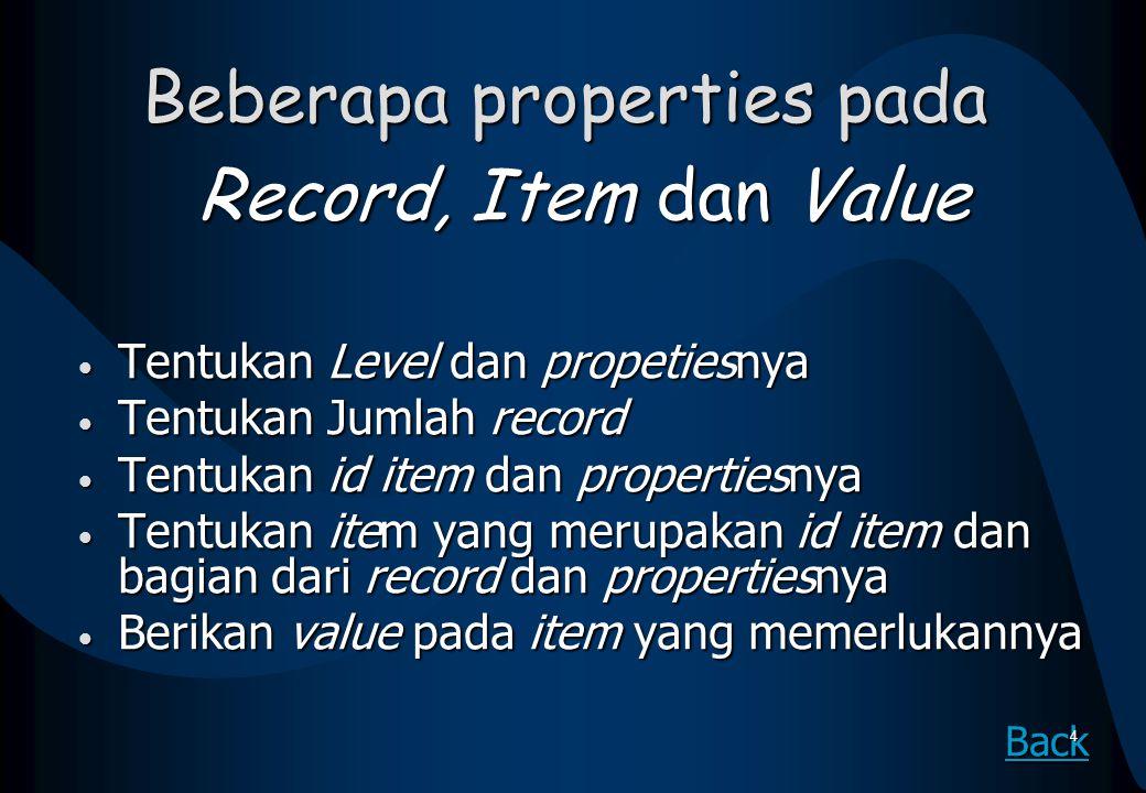 Beberapa properties pada Record, Item dan Value Tentukan Level dan propetiesnya Tentukan Level dan propetiesnya Tentukan Jumlah record Tentukan Jumlah