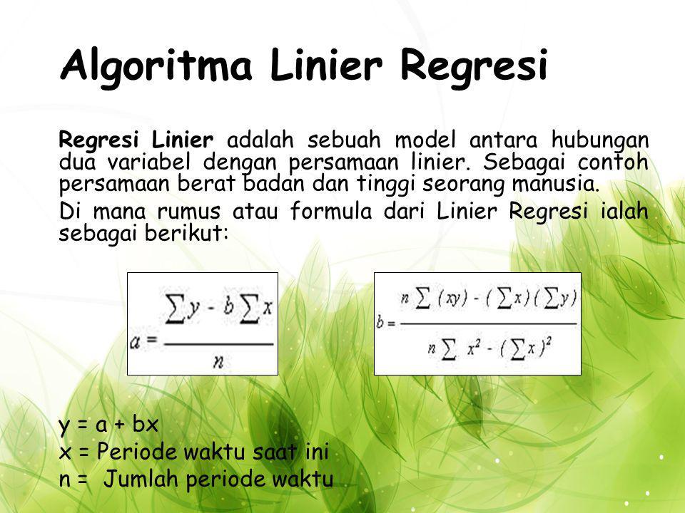 Algoritma Linier Regresi Regresi Linier adalah sebuah model antara hubungan dua variabel dengan persamaan linier.