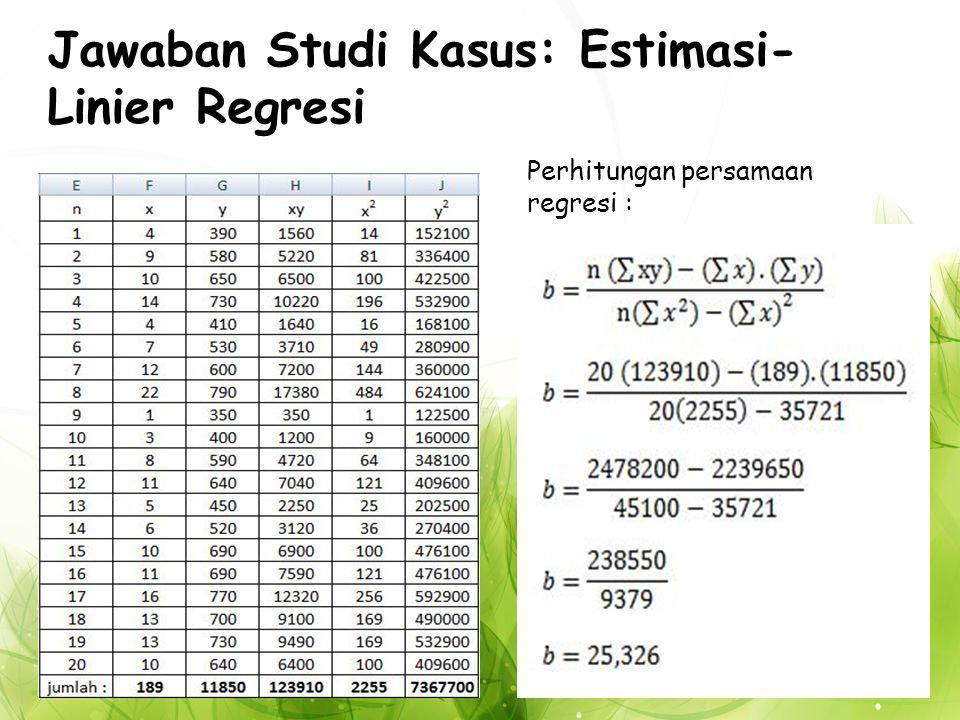 Jawaban Studi Kasus: Estimasi- Linier Regresi Perhitungan persamaan regresi :