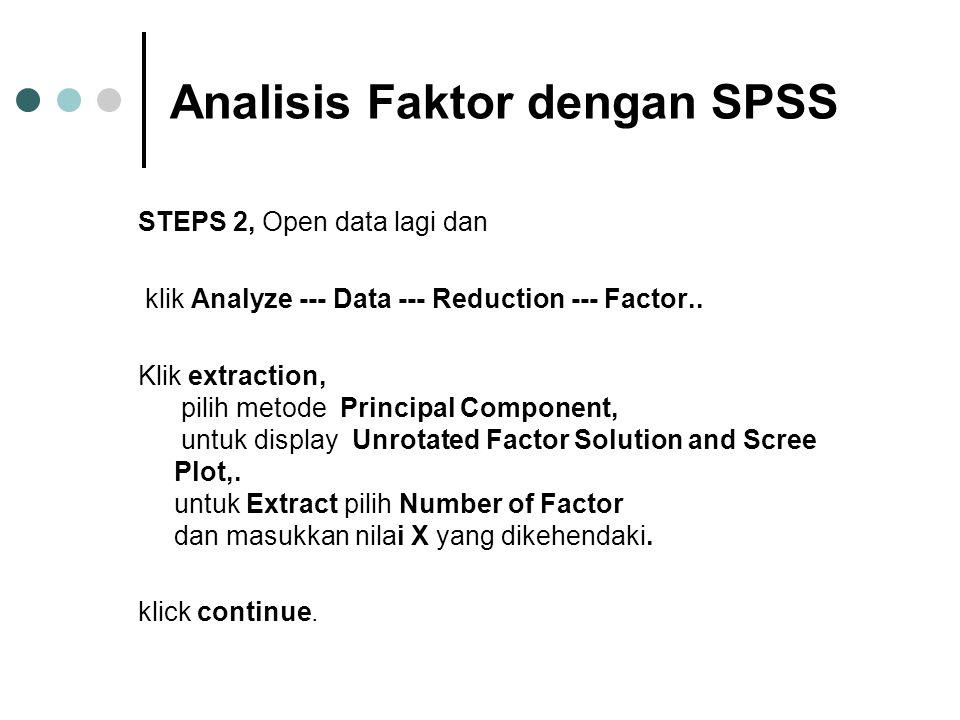 Analisis Faktor dengan SPSS STEPS 2, Open data lagi dan klik Analyze --- Data --- Reduction --- Factor.. Klik extraction, pilih metode Principal Compo