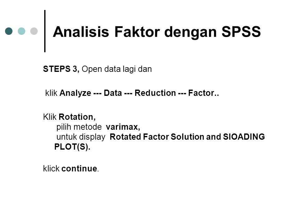Analisis Faktor dengan SPSS STEPS 3, Open data lagi dan klik Analyze --- Data --- Reduction --- Factor.. Klik Rotation, pilih metode varimax, untuk di