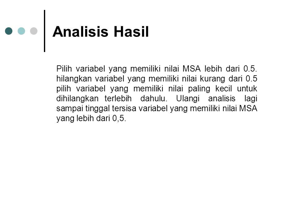 Analisis Hasil Pilih variabel yang memiliki nilai MSA lebih dari 0.5. hilangkan variabel yang memiliki nilai kurang dari 0.5 pilih variabel yang memil
