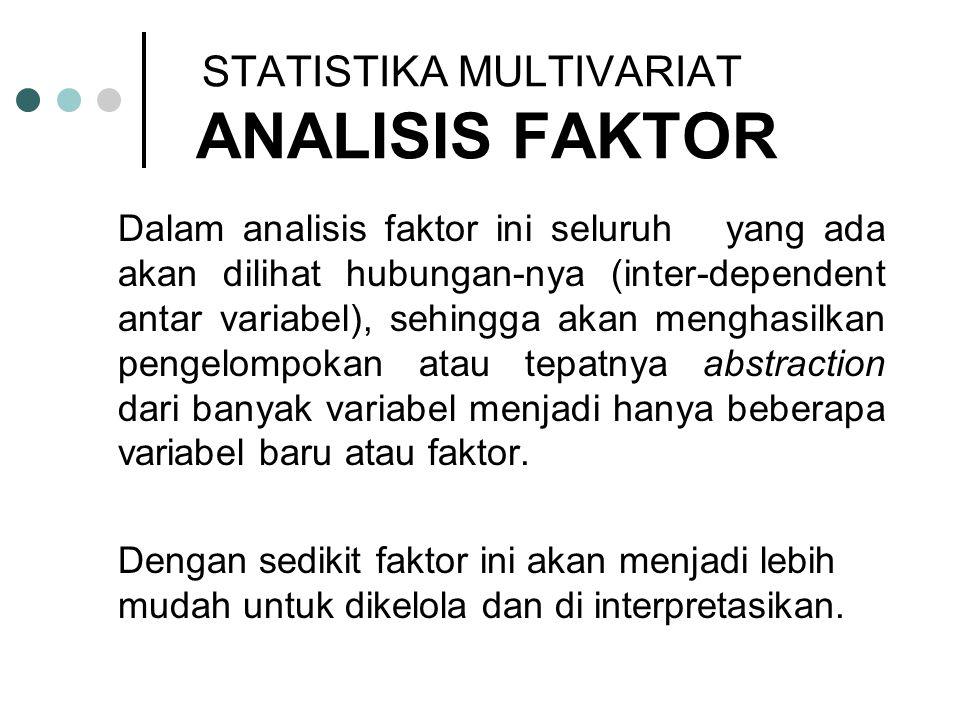 Tujuan utama dari analisis faktor adalah untuk menggambarkan keragaman diantara banyak variabel-variabel yang sebenarnya dapat dibedakan dalam beberapa sifat yang mendasar namun tidak dapat terobservasi kuantitasnya.