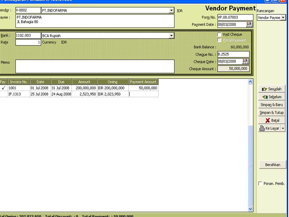 TRANSAKSI PEMBELIAN 1.Pesanan pembelian ( Purchase order ) 2.Penerimaan barang ( Receive Item ) 3.Faktur pembelian ( Purchase Invoice ) 4.Return pembelian ( Purchase Return ) 5.Pembayaran Pemasok ( Vendor Payment ) 6.Laporan Pembelian ( Purchase Report )