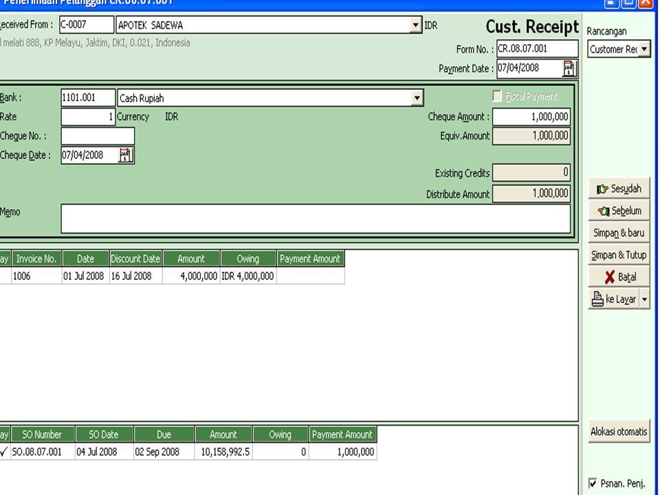 Tanggal 7-7-2008 Perusahaan dapat order dari Apotik Singapore dari Singapore kurs saat pesanan 1SGD = Rp 5.100,- uang muka SGD $ 10.000 dibayar dengan rekening Bank Lippo,Faktur Sale Order nomor SO.08.07.002 nomor faktur dari customer PO..7778 Sin tanggal pengiriman 8-3-2008 FOB Destination Point pengiriman lewat Fdex dan dibawah ini merupakan item barang yang dipesan sbb : B.Pesanan Penjualan dengan uang Muka Valas