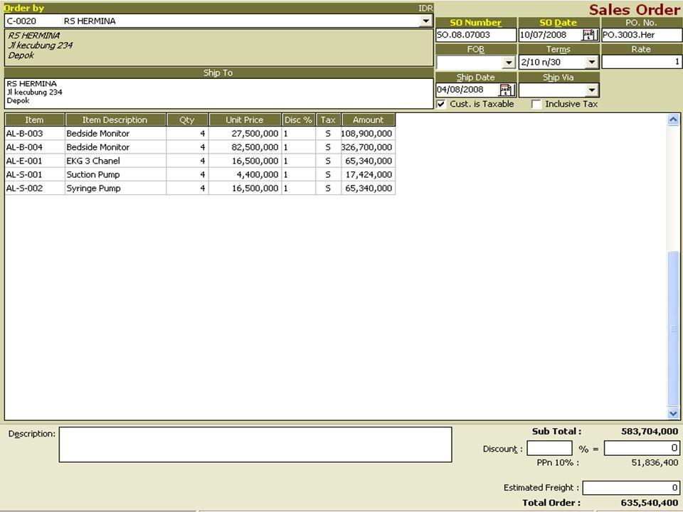 D.Pesanan Penjualan Valas dengan Uang Muka IDR Tgl 15-Juli 2008 perusahaan dapat Order dari Apotik kentucky nomor Sales Order SO.08.07.004 dan nomor PO dari Customer PO.1313 Ken kurs US $ 9.100,pengiriman barang dilakukan tgl 18-Juli-2008,Customer membayar uang muka dengan IDR 4,550,000.- = USD 500 dengan transfer ke Rek BCA IDR No ItemDeskripsiUnitDiskonHarga AL-T--001Transpor Inkubator101USD$ 9.066 AL-V-001Ventilator101USD$ 9.670 AL-V-002Ventilator ICU101USD$ 10.879