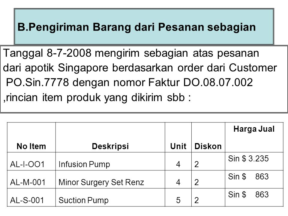Langkah Penyelesaian : 1.Pilih menu acrivities,pilih Sale lalu kklick delivery order 2.Klick tanda ▼ pilih customer Apotik Singapore 3.Isikan nomor DO.08.07.002,Tgl pengiriman 8 ship via FDEX 4.Klick Select PO Beri tanda Tickmark ( √ ) Sin:7778,lalu Oke 5.Edit Unit barang yang dikirim 6.Klick Save & Close