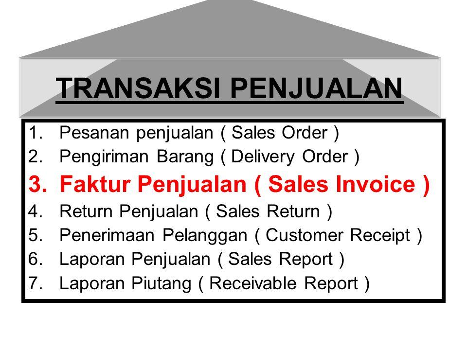 Transaksi penjualan perusahaan dagang dapat terjadi dengan beberapa kemungkinan sbb : A.Faktur Penjualan dengan Pengiriman Barang ( DO ) B.Faktur Penjualan dari pesanan Penjualan ( SO) C.Faktur Penjualan dengan Pembayaran sebagian D.Faktur Penjualan dengan Valas dan Pembayaran tunai valas E.Penjualan dengan kartu kredit F.Penjualan Tanpa DO/SO