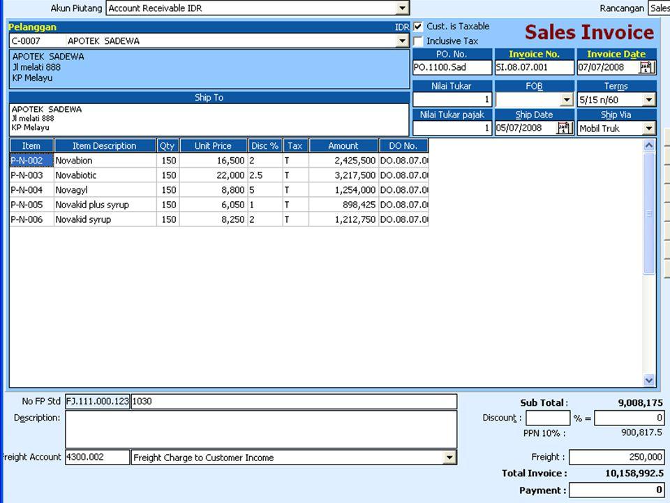 Tanggal 14 Juli 2008 perusahaan mengirim seluruh barang beserta tagihan kepada RS Hermina nomor faktur SI.08.07.002,Penjualan ini berdasarkan Faktur Sales Order (SO.08.07.003) B.