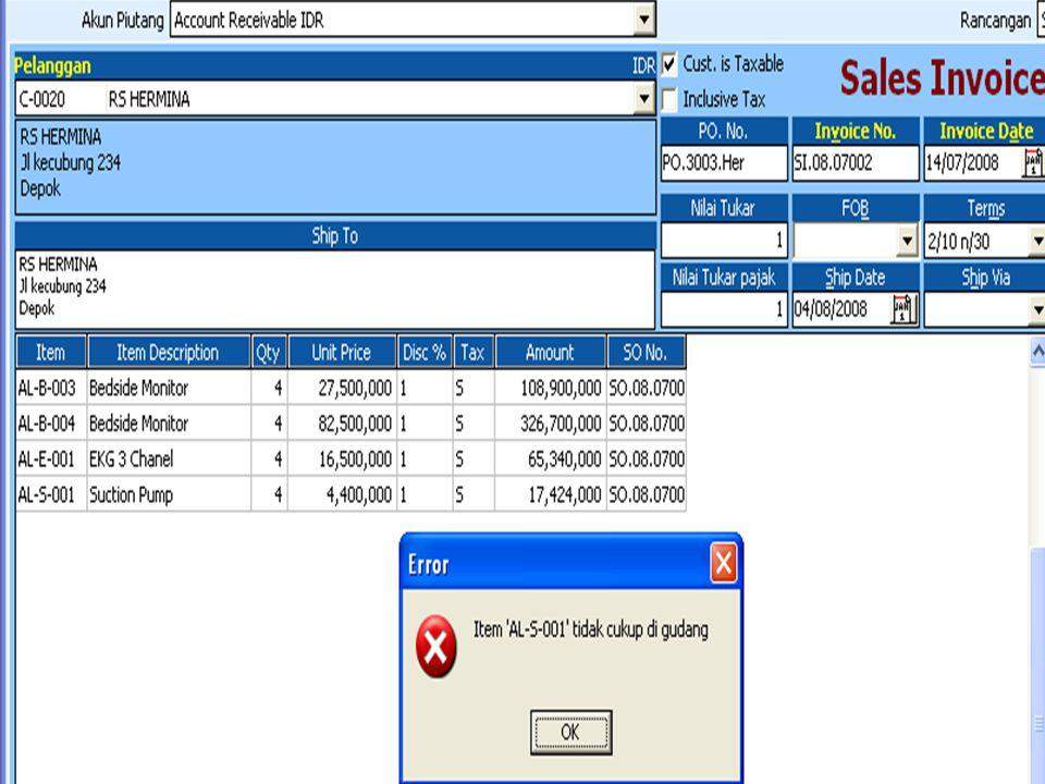 Tanggal 18-Juli-2008 perusahaan membuat tagihan berdasarkan SO.08.07.002 kepada Apotik Singapore nomor faktur SI.07.03.003 pembayaran SGD 5.000 melalui rek Bank Mandiri dengan nomor Cek Masuk Sin 900012 : C.