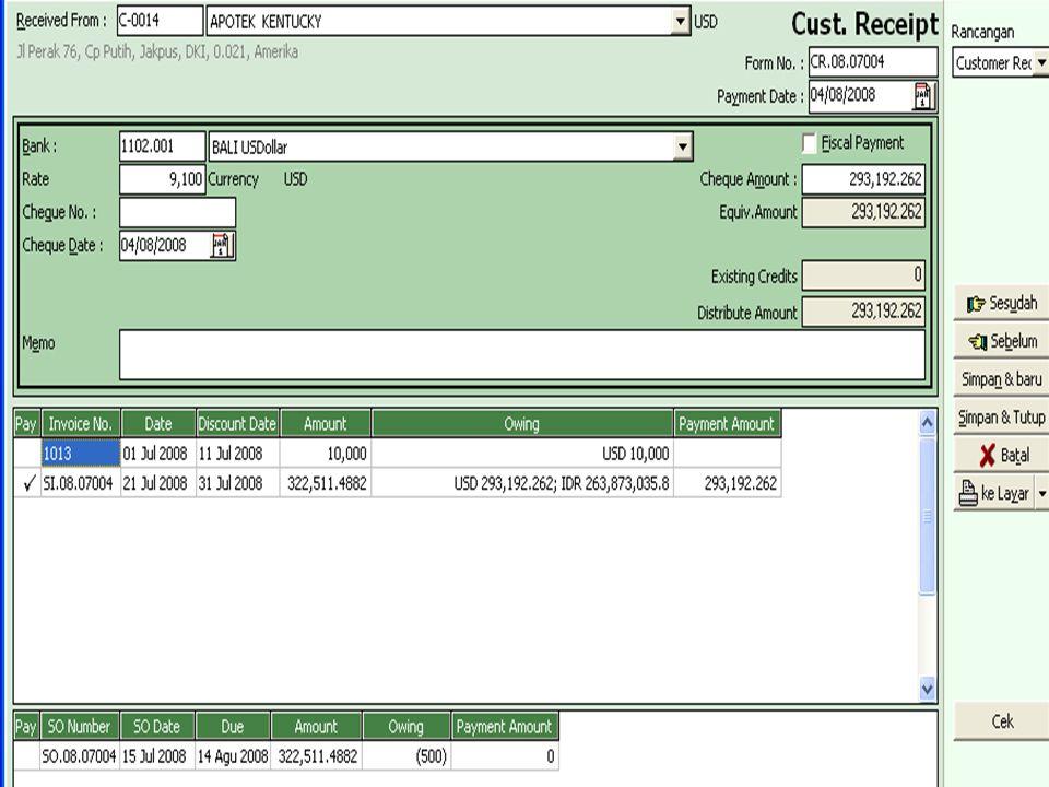Tanggal 20-7-2008 perusahaan menjualan beberapa item obat kepada apotik Manggala tanpa SO/DO nomor faktur penjualan SI.08.07.005,pembayaran dilakukan oleh customer dengan kartu kredit Visa Card Nomor 555.123 senilai Rp 5.115.275,-.Tanggal 21-Juli-2008 perusahaan menagih ke Visa Card dan dibebankan oleh untuk biaya administrasi senilai 1%,adapun item barang yang dijual sbb : E.