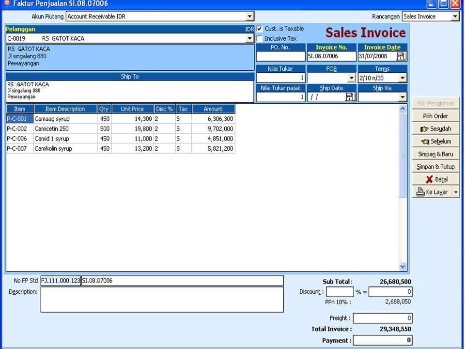 TRANSAKSI PENJUALAN 1.Pesanan penjualan ( Sales Order ) 2.Pengiriman Barang ( Delivery Order ) 3.Faktur Penjualan ( Sales Invoice ) 4.Return Penjualan ( Sales Return ) 5.Penerimaan Pelanggan ( Customer Receipt ) 6.Laporan Penjualan ( Sales Report ) 7.Laporan Piutang ( Receivable Report )