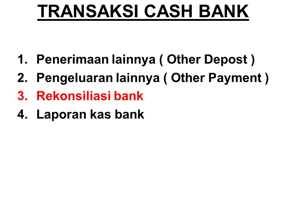 Rekonsiliasi bank Dibawah ini merupakan perbandingan saldo rekening koran dengan So menurut perusahaan transaksi yang belum dicatat oleh perusahaan yaitu pendapatan jasa giro dan pajak dari jasa giro Nama Bak So Perusahaan So R/K Jasa Giro Pajak Bank Bali322,533323,049645129.01 BCA64,550,00064,756,560258,20051,640.00 Mandiri136,855,296137,293,233547,421109,484.24 Lippo46,07846,15292.1618.43
