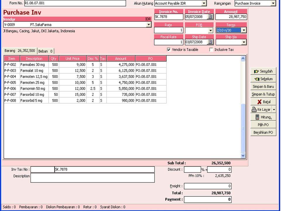 B.Faktur Pembelian dari penerimaan barang SGD Pada Tanggal 20-7-2008 diterima barang dagangan dari PT.Singaparna dengan (nomor SP.4444 ) Faktur Penerimaan dari perusahaan nomor RI.07.03.002,dengan rincian sbb: