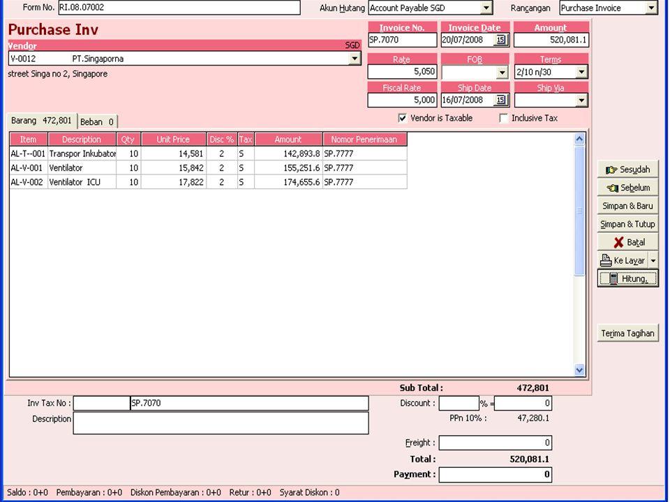 C.Faktur Pembelian dengan Pembayaran Penuh Pada tanggal 23-Juli 2008 Membeli barang langsung tanpa PO Faktur atas Pengiriman barang tanggal 23-07-2008 dari PT.Kimia Farma ( nomor KF.6666 ) dan nomor faktur Pembelian dari Perusahaan PI.08.07.003 dan perusahaan membayaran lunas dengan mengeluarkan Cek dari bank Mandiri nomor BM.1234