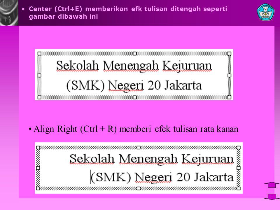 Center (Ctrl+E) memberikan efk tulisan ditengah seperti gambar dibawah ini Align Right (Ctrl + R) memberi efek tulisan rata kanan