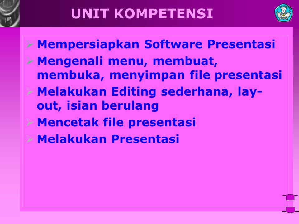 UNIT KOMPETENSI  Mempersiapkan Software Presentasi  Mengenali menu, membuat, membuka, menyimpan file presentasi  Melakukan Editing sederhana, lay- out, isian berulang  Mencetak file presentasi  Melakukan Presentasi