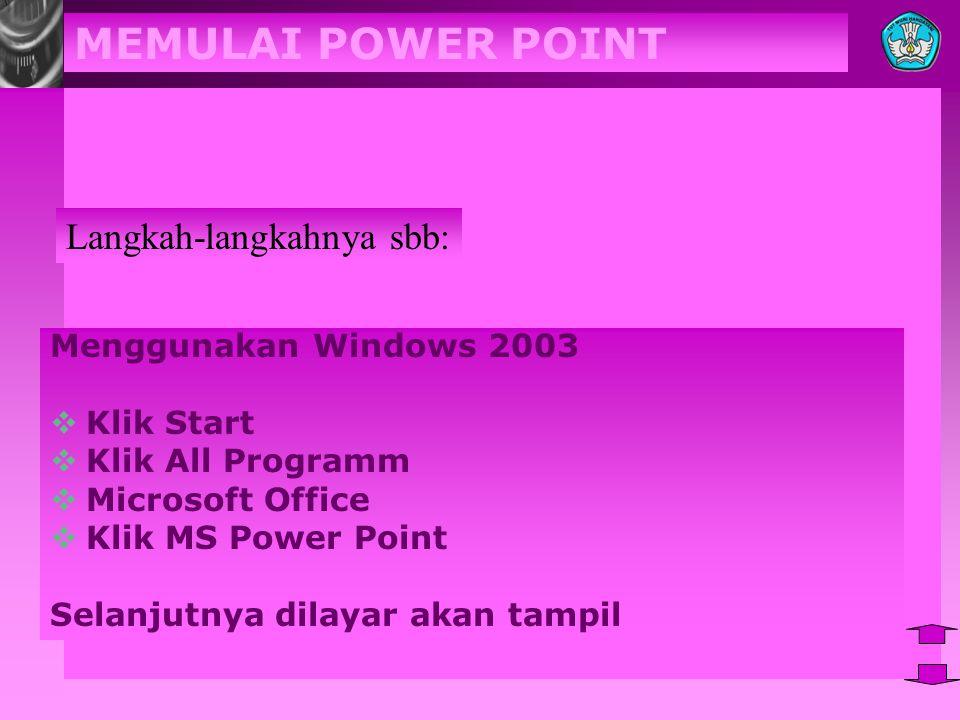 MEMULAI POWER POINT Menggunakan Windows 2003  Klik Start  Klik All Programm  Microsoft Office  Klik MS Power Point Selanjutnya dilayar akan tampil Langkah-langkahnya sbb: