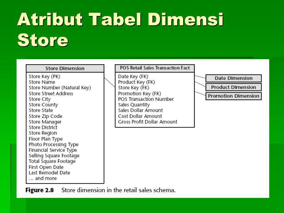 Atribut Tabel Dimensi Store