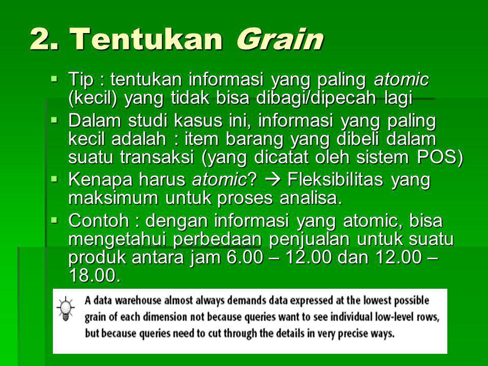2. Tentukan Grain  Tip : tentukan informasi yang paling atomic (kecil) yang tidak bisa dibagi/dipecah lagi  Dalam studi kasus ini, informasi yang pa