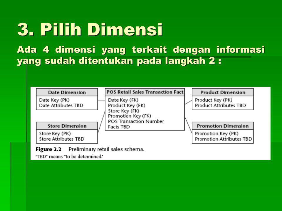 3. Pilih Dimensi Ada 4 dimensi yang terkait dengan informasi yang sudah ditentukan pada langkah 2 :
