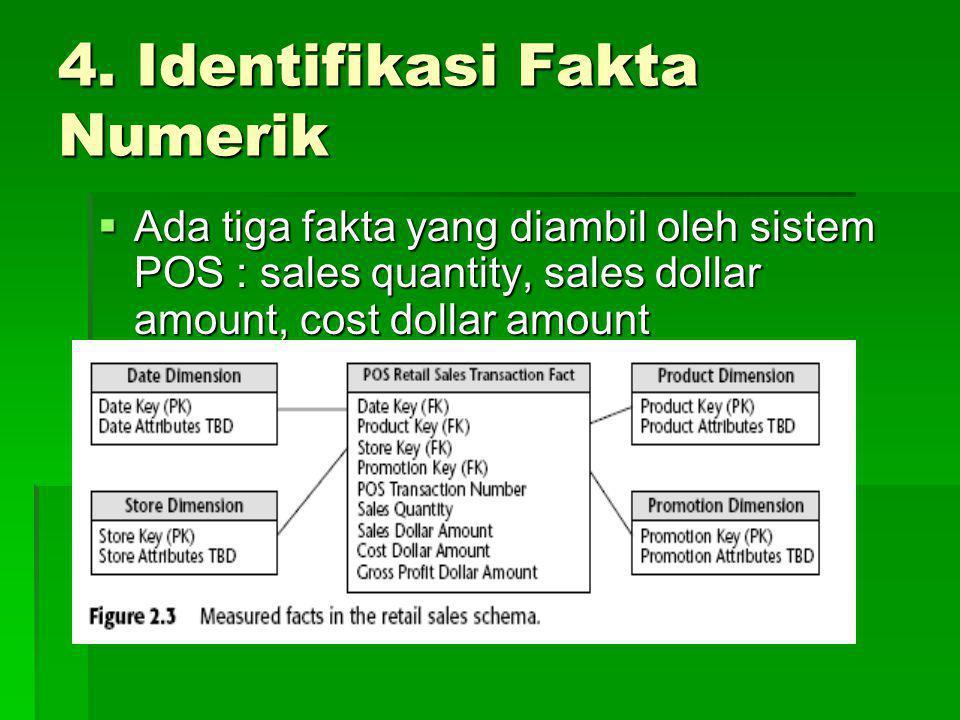 4. Identifikasi Fakta Numerik  Ada tiga fakta yang diambil oleh sistem POS : sales quantity, sales dollar amount, cost dollar amount