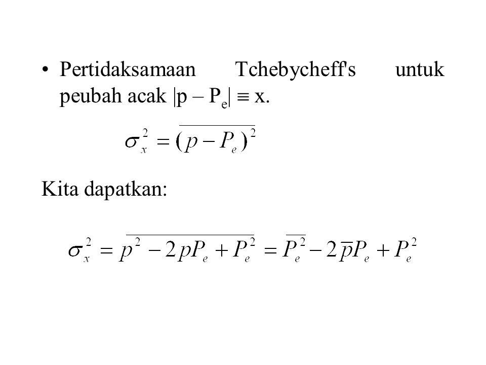 Pertidaksamaan Tchebycheff's untuk peubah acak |p – P e |  x. Kita dapatkan: