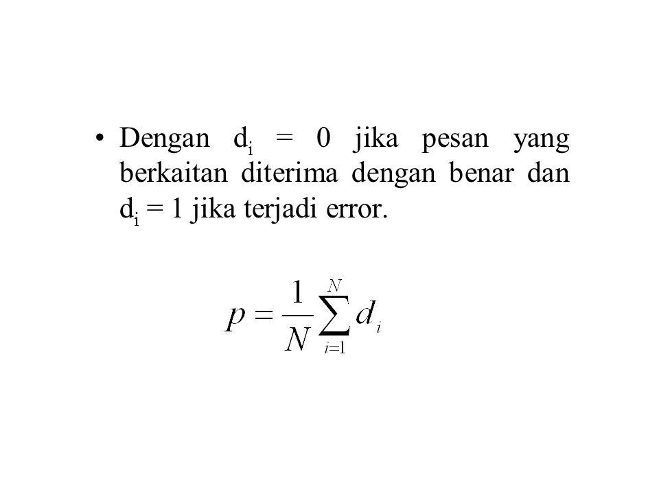Dengan d i = 0 jika pesan yang berkaitan diterima dengan benar dan d i = 1 jika terjadi error.