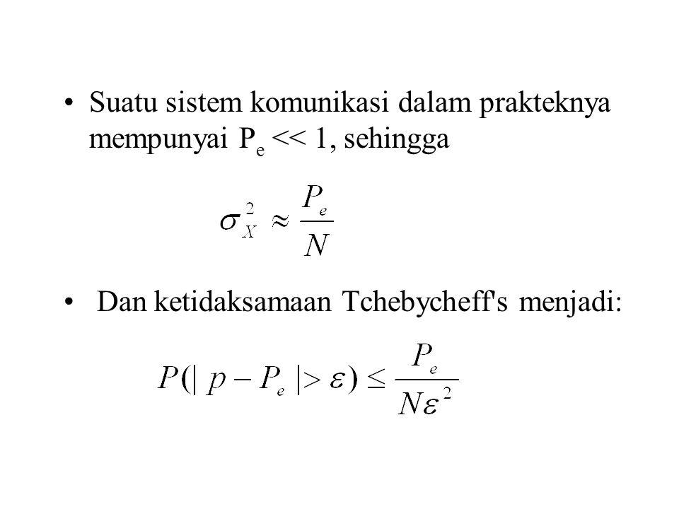 Suatu sistem komunikasi dalam prakteknya mempunyai P e << 1, sehingga Dan ketidaksamaan Tchebycheff's menjadi: