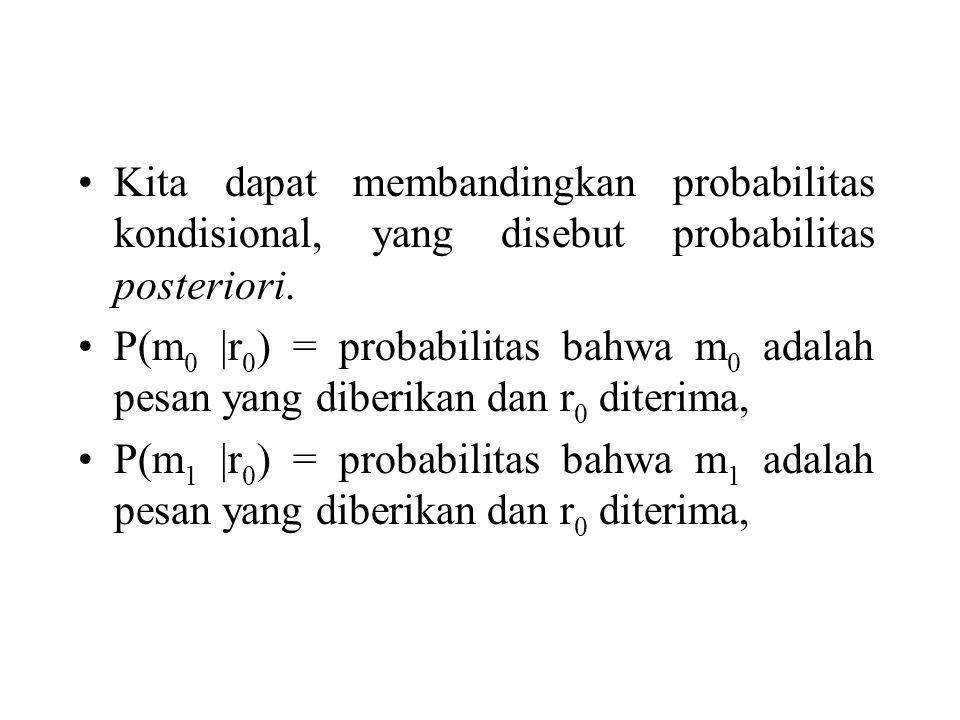 Kita dapat membandingkan probabilitas kondisional, yang disebut probabilitas posteriori. P(m 0 |r 0 ) = probabilitas bahwa m 0 adalah pesan yang diber
