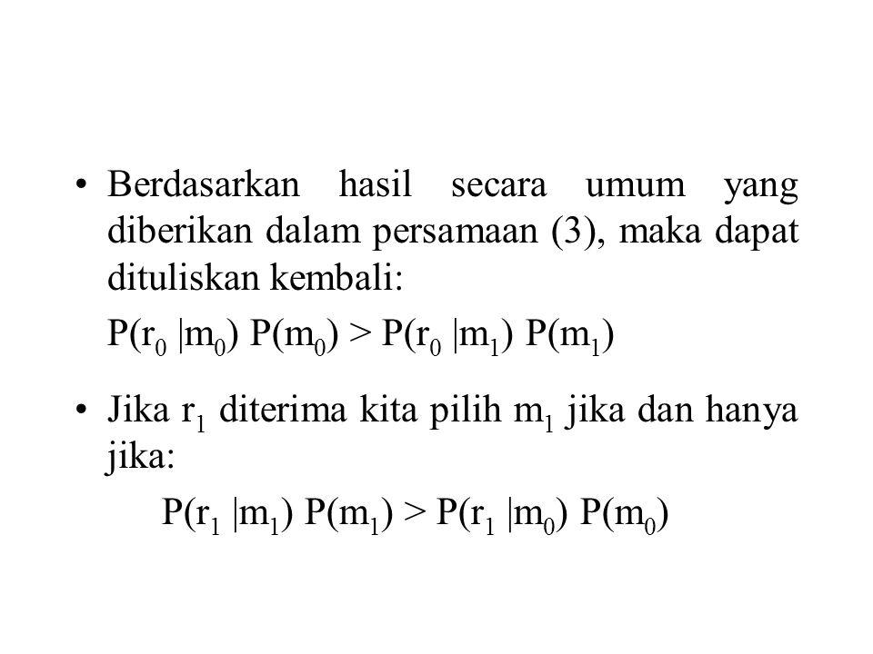 Berdasarkan hasil secara umum yang diberikan dalam persamaan (3), maka dapat dituliskan kembali: P(r 0 |m 0 ) P(m 0 ) > P(r 0 |m 1 ) P(m 1 ) Jika r 1