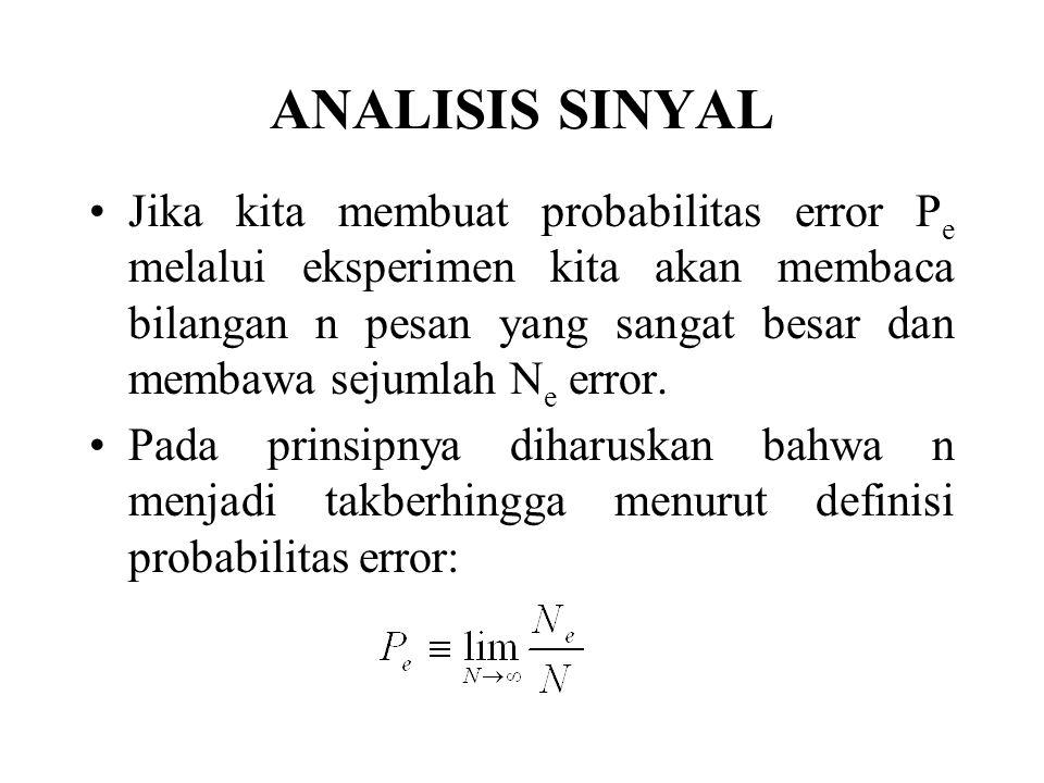 ANALISIS SINYAL Jika kita membuat probabilitas error P e melalui eksperimen kita akan membaca bilangan n pesan yang sangat besar dan membawa sejumlah