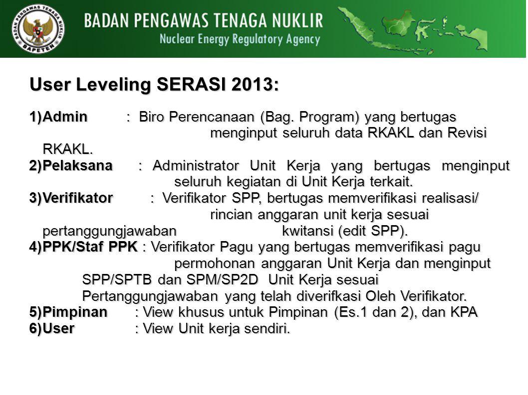 User Leveling SERASI 2013: 1)Admin : Biro Perencanaan (Bag. Program) yang bertugas menginput seluruh data RKAKL dan Revisi RKAKL. 2)Pelaksana : Admini