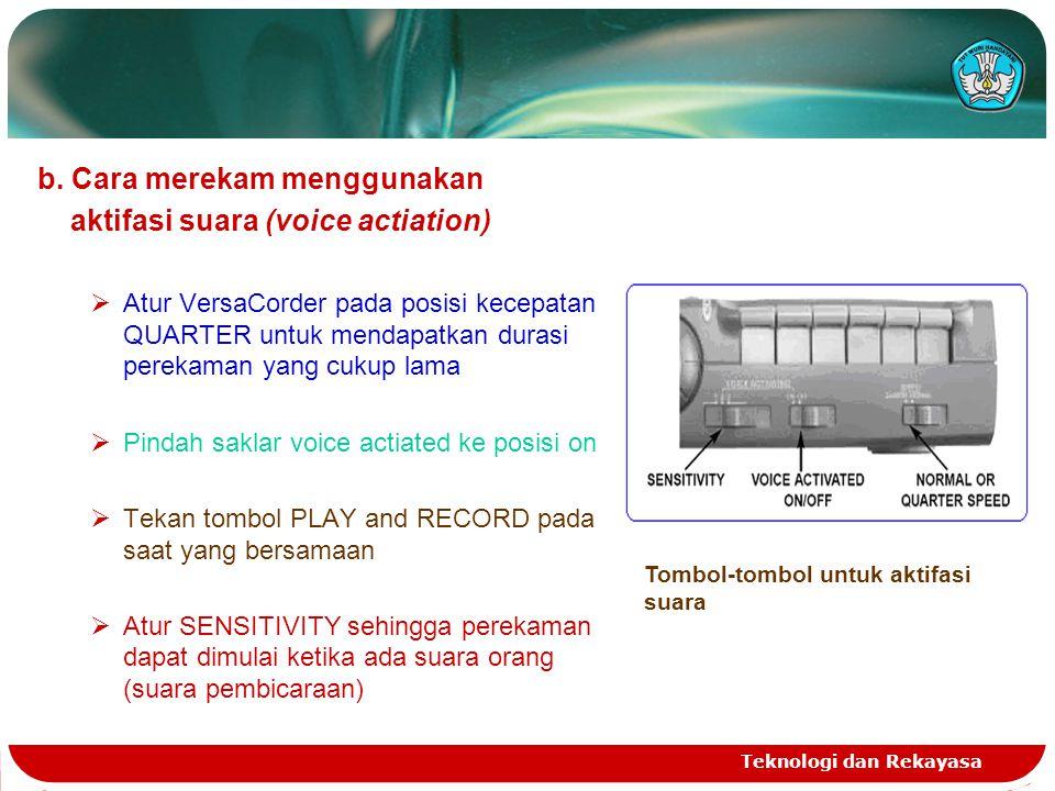 Teknologi dan Rekayasa b. Cara merekam menggunakan aktifasi suara (voice actiation)  Atur VersaCorder pada posisi kecepatan QUARTER untuk mendapatkan