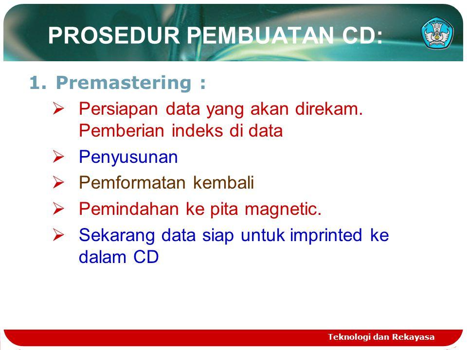 Teknologi dan Rekayasa PROSEDUR PEMBUATAN CD: 1.Premastering :  Persiapan data yang akan direkam. Pemberian indeks di data  Penyusunan  Pemformatan